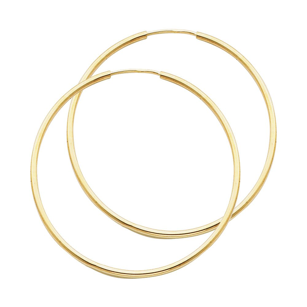 Thin Continuous Tube (1.5mm) 14K Gold Hoop Earrings 8 Sizes Available - DeluxeAdultCostumes.com