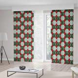Decor Collection,Geometric,for Bedroom Living Dining Room Kids Youth Room,Hexagon Shapes with Snowflake and Pine Tree Design Winter Themed,196Wx83L Inches