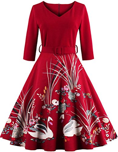 Dress Print Midi Red Hollywood 3 Party Vintage Swan Ayli Star Sleeve Large 1950s Retro 4 Women's Swing xOwZSRqT1