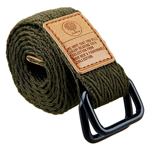 moonsix Canvas Web Belts for Men, Military Style D-ring Buckle Men's Belt, Army Green 2