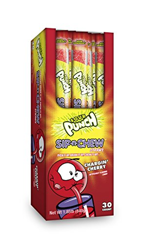 Sour Punch Sip-N-Chew Edible Candy Drinking Straws, Individually Wrapped, 1 oz, 11-inch (Case of 30) (Chargin' (Chew Straws)
