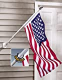 Patriotic 4th of July Red White Blue Hanging Outdoor Tangle Free American Flag and Flag Pole