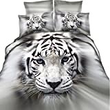 EsyDream 3D Oil Painting White Tiger Print Bedding Sets 4PC No Comforter,100% Cotton Animal Tiger Boys Duvet Cover,Queen/Full Size (4PC/Set)