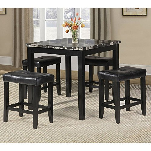 ACME Furniture 71095 Blythe 5 Piece Faux Marble Counter Height Set, Black - Black Marble Square