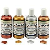 Acrylfarben Set metallic mit 4 Farben, silber, gold, bronze und kupfer -trendmarkt24 15600