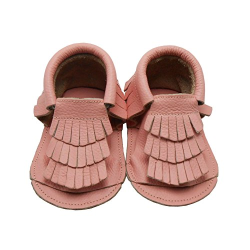 Sayoyo Baby Girl Sandal Soft Sole Leather Tassel Crib Shoes (6-12 Months/5-5.5 M US Toddler, Pink)