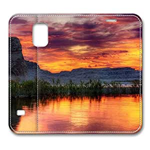 Brain114 Fashion Style Case Design Flip Folio PU Leather Cover Standup Cover Case with Arizona Lake Pattern Skin for Samsung Galaxy S5 I9600