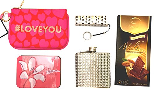 Young Woman Gift - Bachelorette Gift -Girlfriend Gift -Perfect for Birthdays, Christmas, Valentines, Easter, Thinking of You & Love Gestures (Chocolate - Silver Bling Flask) (Christmas Songs Fast Beat)