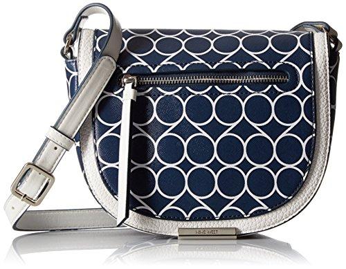 Nine West Dima Saddle Bag, India Ink-White/Snow Petal/Snow Petal (Snow White Handbag)
