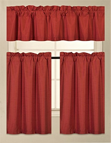 GorgeousHomeLinen (K3) 3 PC Kitchen Window Valance Tier Curtain Faux Silk Panels Solid Lined Thermal Blackout Drape Set (RED)