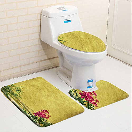 Keshia Dwete three-piece toilet seat pad customBamboo Collection Wild Orchides with Bamboo Leaves on Old Antique Paper Floral Asian Style Art Yellow Green Pink