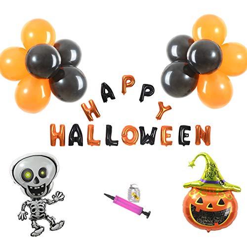 Jiaqee Halloween Balloon Decoration Set - Happy Halloween Hanging Decoration Skull Pumpkin Balloons Halloween Party Favors(28 Packs)]()