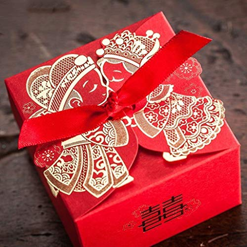 100pcs/lot Chinese Style Candy Box Bride Groom Double Happiness Red Ribbon Wedding Engagement Favors