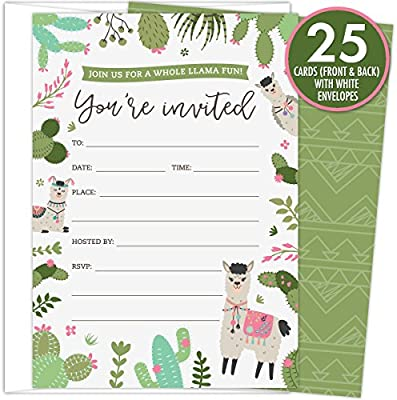 Amazon Com Koko Paper Co A Whole Llama Fun Party Invitations Set Of 25 Fill In Style Invites And White Envelopes Featuring Llamas Colorful Cactus And Floral Accents Perfect For Birthdays Or Any Events
