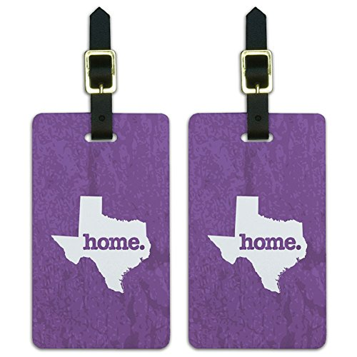 (Texas TX Home State Luggage Suitcase ID Tags Set of 2 - Textured Lavender Purple)