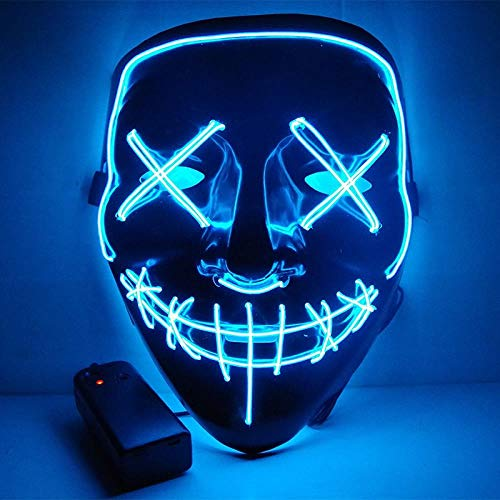 LED Mask Halloween Party Mask Masquerade Mask Neon Maske Light Glow in Dark Mascara Horror Maska Glowing Mask Clear, Deep Blue -
