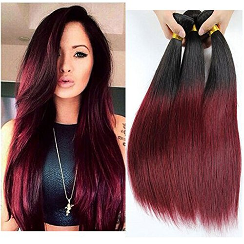 XCCOCO Brazilian Silky Straight Real Human Hair Extension 3 Bundles Black to Wine Red Ombre Two Tone Hair Weave Wefts(T1B/99J,18