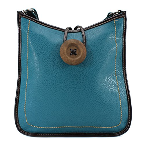 Womens Messenger YDezire® Light Leather Cross Women Satchel Body Blue Bag Ladies Faux Handbag Shoulder Tote Button HqqdTp