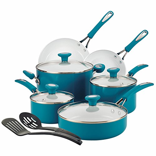 SilverStone Ceramic Nonstick Aluminum Cookware Set, 12-Piece, Marine Blue, CXi Collection
