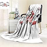 Super Soft Lightweight Blanket Roses and Skull Feast of All Saints Catholic Tradition Art Print Oversized Travel Throw Cover Blanket