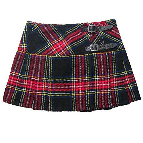 Viper London Ladies' Black And Red Tartan 13 Inch Pleated Mini Skirt/Micro Mini Kilt - US 24 (Big Mini Skirt Star)