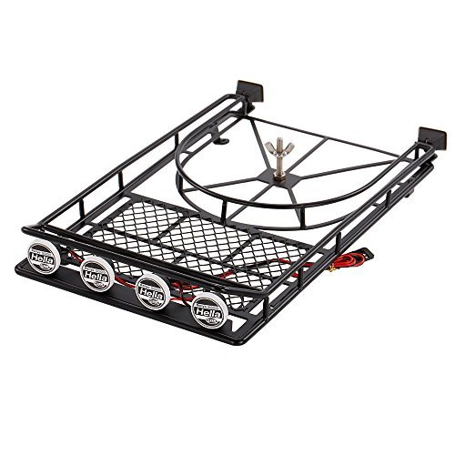 (Goolsky Austar AX518BK Metal Roof luggage Rack with Spare Tire Holder & LED light for 1/10 RC SCX10 90046 D90 Crawler)