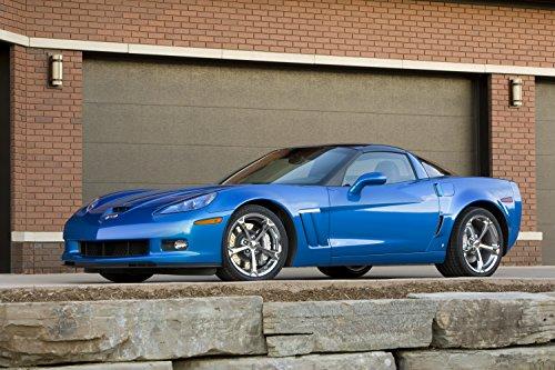 "Chevrolet Corvette (C6) Grand Sport (2010) Car Art Poster Print on 10 mil Archival Satin Paper Blue Front Side Static View 16""x20"""