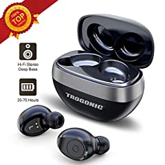 Bluetooth 5. 0TROGONIC wireless earbuds adopting the most advanced Bluetooth 5. 0 technology provides you with faster and more stable lossless connection within 50ft transmission distance than the previous Bluetooth versions. Longer Battery L...