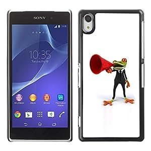 Be Good Phone Accessory // Dura Cáscara cubierta Protectora Caso Carcasa Funda de Protección para Sony Xperia Z2 D6502 D6503 D6543 L50t L50u // Frog Orator White Minimalist