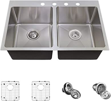 MR Direct T1823 Topmount 3//4-Inch Radius Kitchen Sink Grid and Basket Strainer