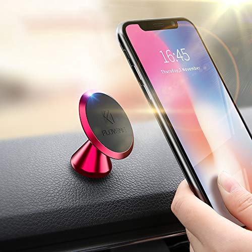 Magnetic Phone Car Mount Adhesive - FLOVEME 360° Rotate Magnet Cell Phone Holder for Car Panel Dashboard Hands Free Magnetic Phone Mount Compatible for iPhone Samsung and Most Mobile Phones (Red)