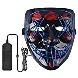 Halloween Mask Scary LED Light Up Mask for Halloween Festival Party (Blue)