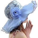 LOCOMO Women Floral Pattern Chiffon Layer Kentucky Derby Wide Brim Hat FFH148BLU
