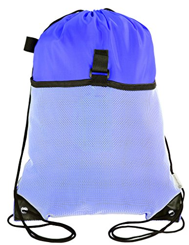 Mato & Hash Drawstring Cinch Bag Backpack With Mesh Pocket Tote Sack - 100PK Royal CA2600 - 3 by Mato & Hash