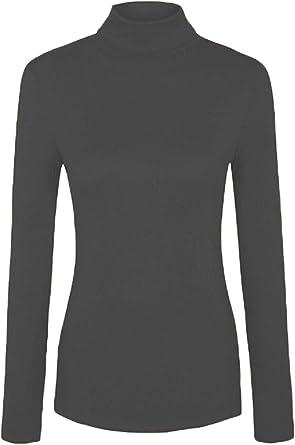 Islander Fashions Mujer Polo Acanalado Polo Cuello Alto Camiseta ...