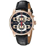 Lucien Piccard Men's 'Bosphorus' Quartz Stainless Steel and Leather Casual Watch, Color:Black (Model: LP-40045-RG-01)