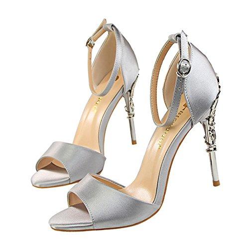metal con de los pescados altos talones los los sandalias atractivo El Gris boca zapatos de z las hueco amp;dw con satén de del plata boda IRxqawRE