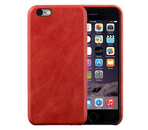 iPhone 6 / 6S Backcover-Case, FUTLEX Retro Stil Case aus echtem Leder - Rot - Ultra Slim - Präziser Zuschnitt und Design - Handgefertigt