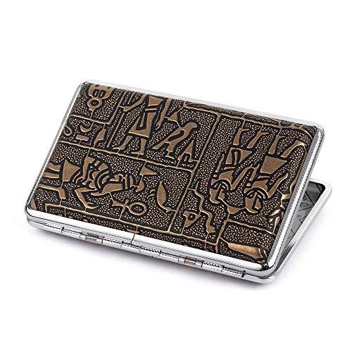 Egyptian Pattern Leather Metal Cigarette Case Holder for Regular Or 100's Size Cigarettes (Bronze)