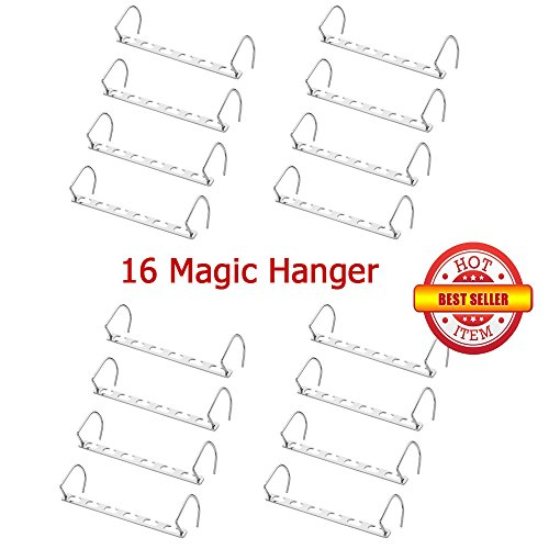 Metal Hanger Organizer Cascader Hook Rack,Wonder Magic Clothes,Closet,Coat Space Saver Storage 2 Pack with 8 Hanger (CHROME) by AMA Shop