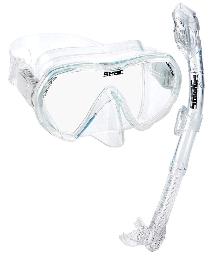 SEAC Frameless Snorkel Set for Men and Women | Comfortable Adjustable, Frameless Mask Made from Clear Tempered Glass | Dry Snorkel with Bottom Purge Valve | Snorkeling and Freediving Gear - Clear