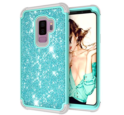 Galaxy S9 Plus Case, ZERMU 3in1 Glitter Sparkle Bling Shining Fashion Style Hybrid Sturdy Armor Defender High Impact Shockproof Protective Case with Front Cover for Samsung Galaxy S9 Plus 6.2