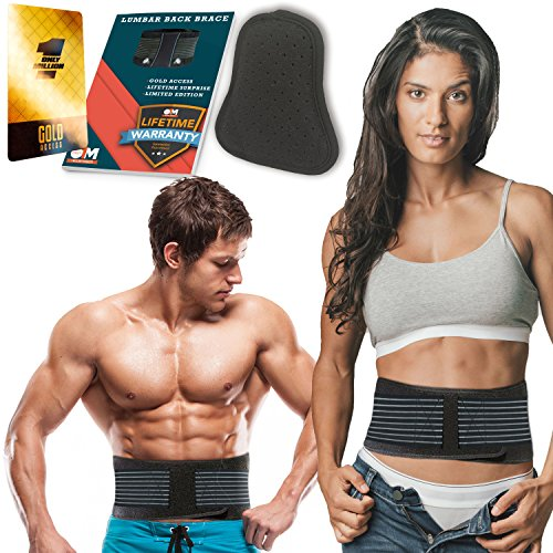 "Lower Back Brace with Extra Detachable Pad – Lumbar Back Support Brace for Men and Women – Helps Relieve Lower Back Pain with Sciatica, Herniated and Slipped Discs (Size L (33""-43""))"