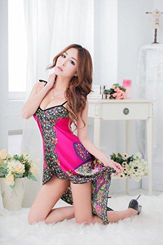 Lanciare Etnico Stile Femminile Pigiama Large Print Rosy Lungo Y3057 Biancheria Backswing Shangrui UqtpnWwzq