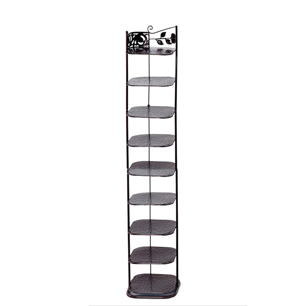 JIANFEI Shoe Shelf Rack Place Items Multi-Layer Stable Multifunction Iron 3 Colors (Color : Black, Size : E9)