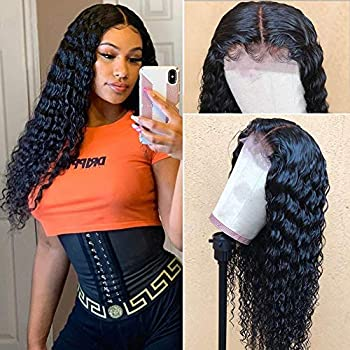 Image of Aopusi 360 Lace Frontal Wig Pre Plucked with Baby Hair 360 Deep Wave Wigs 100% Unprocessed Brazilian Virgin Remy Curly 360 Wigs Human Hair Glueless Swiss Lace Wig 150% Density (20, Natural Color)