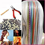 Feather Hair Extension Kit with 26 Synthetic Feathers, 100 Beads, Plier and Hook