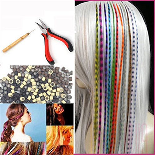 Feather Hair Extension Kit with 26 Synthetic Feathers, 100 Beads, Plier and Hook by Hair Style (Image #8)