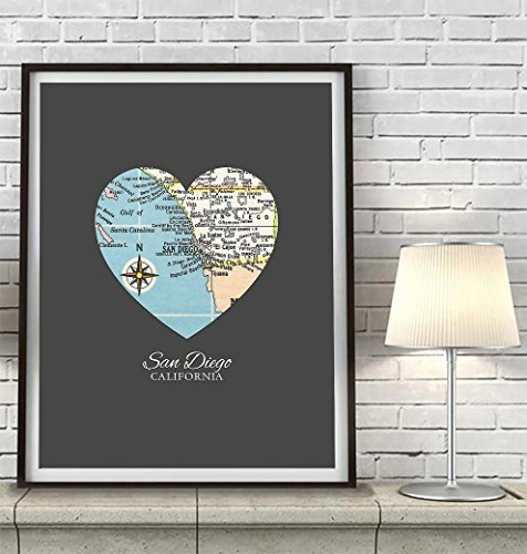 San-Diego-California-Vintage-Heart-Map-Art-Print-UNFRAMED-Customized-Colors-Wedding-gift-Christmas-gift-Engagement-Anniversary-Valentines-day-Housewarming-Guestbook-gift-ALL-SIZES