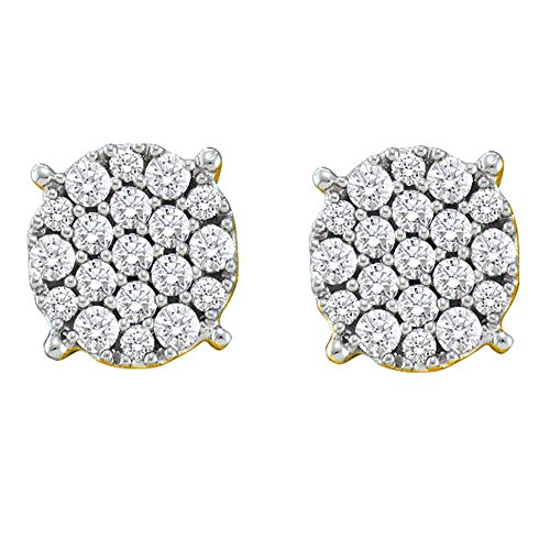 Roy Rose Jewelry 14K Yellow Gold Womens Round Pave-set Diamond Flower Cluster Earrings 1/2-Carat tw